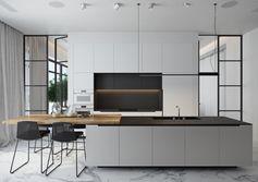 cuisine-gris-clair-contemporaine-avec-verrière-industrielle-paroi-de-séparation-ilot-centrale-table-bois-coin-repas-fonctionnel