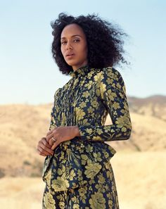 For the November issue of Allure, Kerry Washington is in a jacquard Gucci Cruise 2018 dress by Alessandro Michele.  Stylist: Hanna Kelifa  Photographer: Sharif Hamza