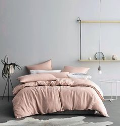 Amazon.com: Washed Cotton Chambray Duvet Cover Solid Color Casual Modern Style Bedding Set Relaxed Soft Feel Natural Wrinkled Look (Queen, Blush): Home & Kitchen
