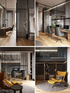 A Glass Wall Separates The Living Room From The Home Office In This Modern Loft Apartment