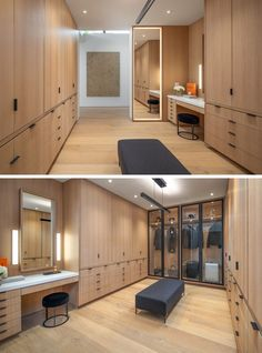 Walk-In Closet Ideas - This modern and expansive walk-in closet has a floor-to-ceiling mirror framed by soft lighting, a vanity area, a glass enclosed wardrobe, and plenty of cabinets and drawers for clothing storage. #WalkInCloset #ClosetIdeas #InteriorDesign #Storage
