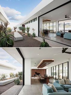 A modern house with an interior courtyard.