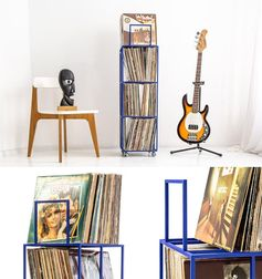 This towering piece of furniture is designed for vinyl record storage.