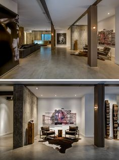 In this modern basement, polished concrete floors and 10 feet ceilings are featured throughout. #ConcreteFloors #PolishedConcrete #Basement