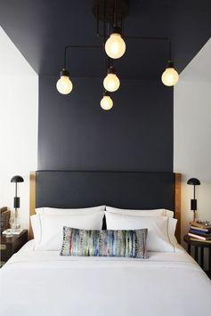 bedroom, decor ideas, blue wall