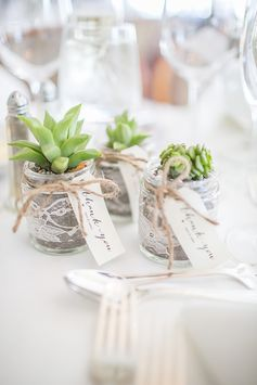 #Succulents in glass jars as wedding favours | Fall Wedding in Connecticut | Lillie Fortino Photography