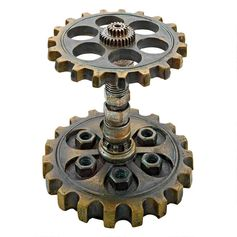 Industrial Steampunk Dual Gear Pen Holder