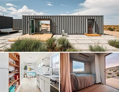 A modern shipping container house with kitchen, living room, and bi-folding doors that open to wood decks.