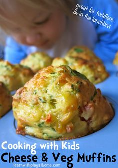 Cheese and Veg Muffins. A fabulously simple and yummy recipe to cook with kids.  Easily customisable to your tastes and available ingredients. Healthy too!