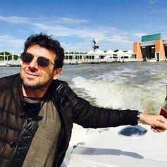 Patrick Bruel enjoying the Venice Film Festival in his Tod's leather jacket. #Venezia74 #VeniceFilmFestival