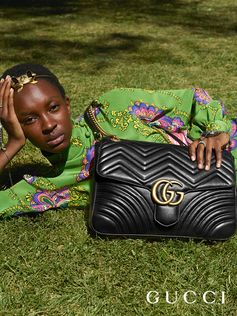 Introducing a larger shape of the GG Marmont shoulder bag featuring a chevron design and the Double G hardware by Alessandro Michele.