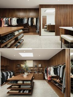 A retail inspired walk-in closet with a central table providing extra storage.