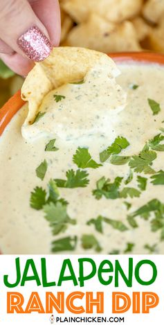 Jalapeno Ranch Dip - so simple and tastes better than Chuy's! Made this for a party and it was the first thing to go! Pickled jalapenos, cilantro, sour cream, mayonnaise, buttermilk, tomatillo green salsa, cumin and Ranch dressing mix. Packs a kick! Great with chips, veggie slices, or with your favorite Mexican dish. Swap this for your usual ranch dressing when you want to kick things up a notch. #mexican #dip #chuys #jalapenoranch #ranchdressing