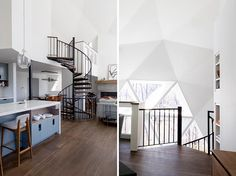 This renovated geodesic dome house features a black steel spiral staircase with wood treads that leads up to the loft where the master bedroom is located. #SpiralStairs #GeodesicDome
