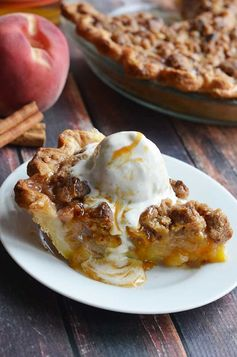 Maple Bourbon Brown Butter Peach Pie.  This is probably the most delicious dessert to ever grace the face of the earth.  Fresh peaches, maple-bourbon caramel, pecan brown butter streusel, buttery, flaky pie crust, and vanilla bean ice cream.  | hostthetoast.com