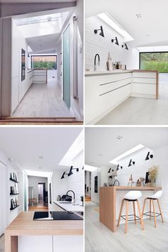 The kitchen was designed in an L-shape, so that it could be used as a  cooking area with garden views, and at the same time, be a visual transition between the kitchen and the dining area. Skylights in the kitchen help to bring the natural light into the interior. #KitchenDesign #ModernKitchen #WhiteKitchen