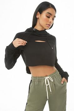 Hooded Fleece Cutout High-Low Pullover