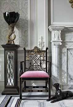 Pinterest The pink velvet chair seat really pops on this elaborate gold and black Chinese Chippendale chair.