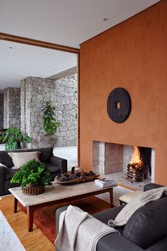 fireplace focal point Just found the accent color for fireplace wall in family room w/grey walls. Grey/Rusty Pecan