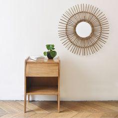 Miroir rond en bambou naturel grisé forme soleil - GM