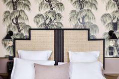 Hôtel Doisy | MilK decoration Tete de lit Art deco en moelle de rotin tissé par la maison Drucker