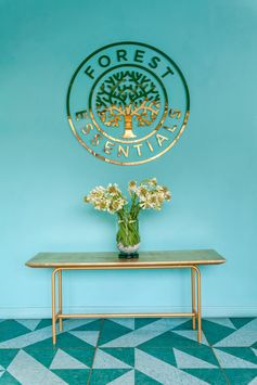 A modern retail store entryway with teal walls, a gold logo, a gold bench, and patterned floor.