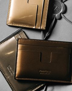 The Metallic T Cardholder in gold, silver and bronze. #TOMFORD #TFGIFTS