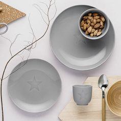 Assiette plate et assiette à dessert en céramique motif étoile gris Star Bloomin : Decoclico