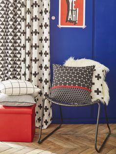 Coussin INSPIRE, noir et blanc l.45 x H.45 cm #leroymerlin #tendance #citypop #coussin #motif #ideedeco #madecoamoi