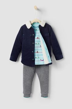 Have your little man looking as cool as can be in the stylish NOLON set. Featuring a light cord jacket with a shearling collar, a fun bird-print cotton top and comfy elasticated joggers, he's sure to love it as much as you do.