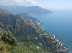 View of Amalfi from far above.