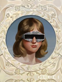 Created by artist Ignasi Monreal, the dreamy Gucci Hallucination campaign features a woman wearing a pair of acetate frames embellished with crystals and studs. Creative Director: Alessandro Michele Art Director: Christopher Simmonds