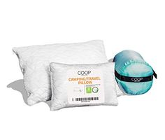 Coop Home Goods - Adjustable Travel and Camping Pillow - Hypoallergenic Shredded Memory Foam Fill - Lulltra Washable ...