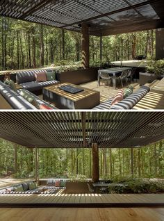 A modern outdoor conversation pit covered by a pergola.