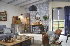 Papier peint intissé Ornement bois beige #leroymerlin #tendance #vintage #industriel #salon #carreauxdeciment #ideedeco #madecoamoi