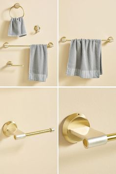 Modern metallic bathroom hardware with a gold brass and silver accent.