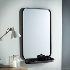 Miroir avec étagère en métal noir bords arrondis Akhal : Decoclico