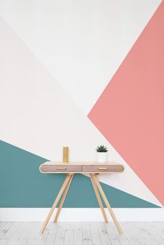 Spruce up your hallway spaces with dazzling, bold geometrics! This geometric wallpaper design boasts sleek lines and a vibrant colour palette. Brighten up your home in time for summer with this unique wall mural.