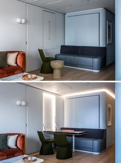 A fold down table with hidden lighting seamlessly blends into the wall.