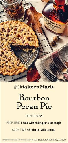 The Maker's Mark Bourbon Pecan Pie is a delectable pie recipe that is appropriate for any occasion. Toasted pecans, gooey chocolate and Maker's Mark come together to form quite the flavor trifecta. It's a great way to butter your guests up. Pie Filling Recipe: 1/4 cup Maker's Mark Bourbon 2 large eggs 1 cup sugar 1 stick butter 1-1/2 cups pecans 1 cup chocolate chips Pie Crust Recipe: 1-3/4 cups flour 1/4 tsp salt 1/2 tsp sugar 1 stick butter 3 tbsp ice water. Click-thru for directions.