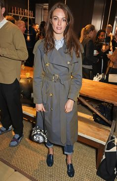 Lady Violet Manners wears a Burberry trench coat in tropical gabardine at our Thomas's Café event to celebrate London Fashion Week Men's