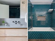 In this modern bathroom, a quartz countertop sits atop a custom wood vanity, while dark teal Swiss cross tile was used to add a punch of pattern and color, and a shower niche provides a shelving element. #ModernBathroom #CrossTile #TealTile