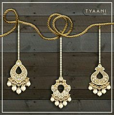 Ornately handcrafted Polki Maangtikkas from Tyaani.com Choose yours from our versatile range, starting at Rs. 10,000/- http://bit.ly/2BERJKm  #Tyaani #EverydayPolki