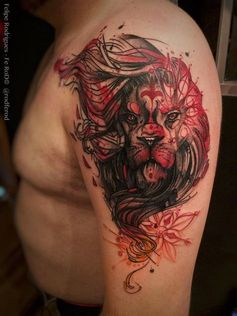 Illustrative style colored shoulder tattoo of lion with various ornaments
