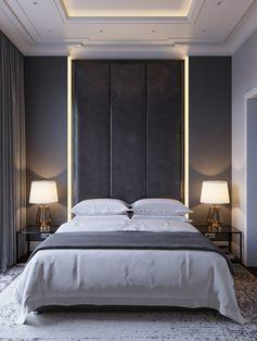 Camera da letto elegante e raffinata con particolare illuminazione a led - parete e soffitto in cartongesso