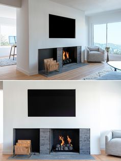 A set back fireplace with a dark grey surround has space for firewood or magazine storage, while above, a television has been recessed into the white wall.