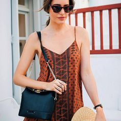 Saturday shopping with Louise Roe & her Uptown Beauty bag at the Folli Follie store in Mykonos (July 2016).