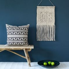 Tissage mural en laine et polyester perles noir/ecru  35x65 cm