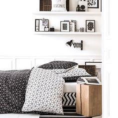 """Housse de couette graphique """"Cubi"""" en coton motif cube rosace noir et blanc, Delamaison.fr"""