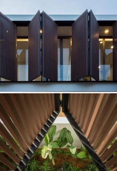 Modern shutters made from wood slats.